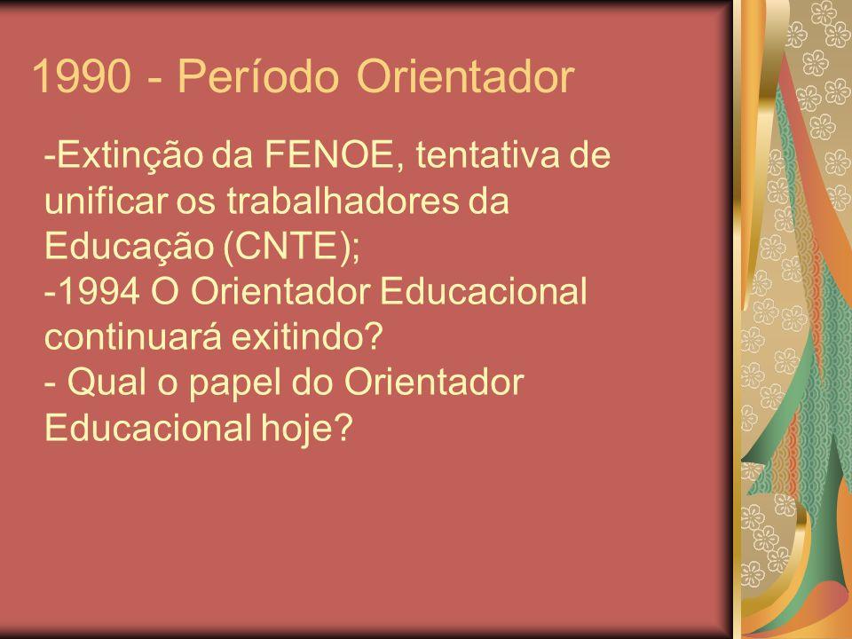 1990 - Período OrientadorExtinção da FENOE, tentativa de unificar os trabalhadores da Educação (CNTE);