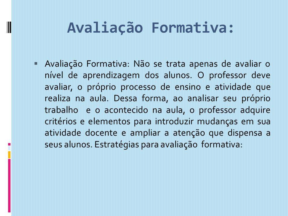 Avaliação Formativa:
