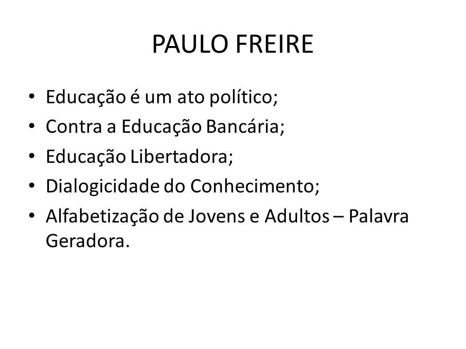 PAULO FREIRE Educação é um ato político; Contra a Educação Bancária;