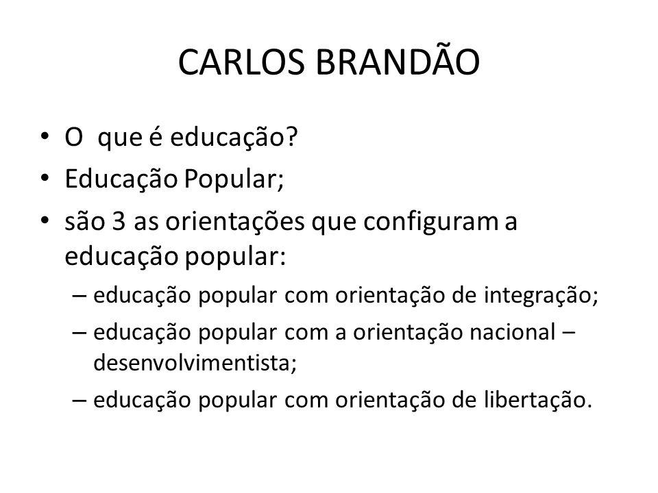 CARLOS BRANDÃO O que é educação Educação Popular;