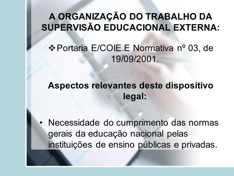 A ORGANIZAÇÃO DO TRABALHO DA SUPERVISÃO EDUCACIONAL EXTERNA: