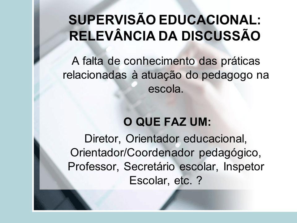SUPERVISÃO EDUCACIONAL: RELEVÂNCIA DA DISCUSSÃO