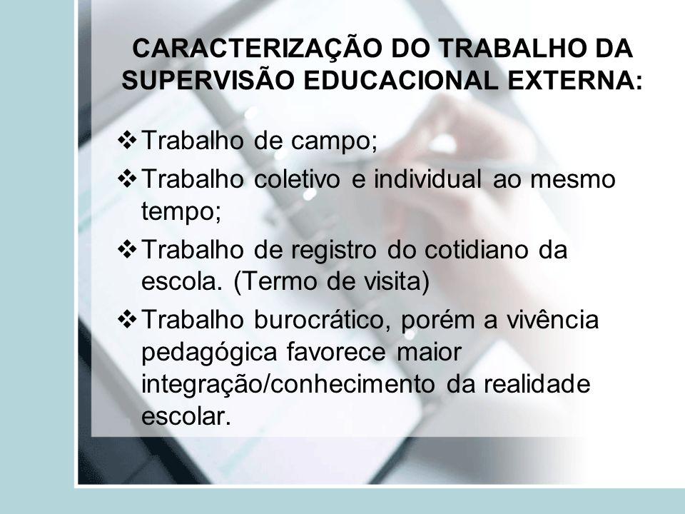 CARACTERIZAÇÃO DO TRABALHO DA SUPERVISÃO EDUCACIONAL EXTERNA: