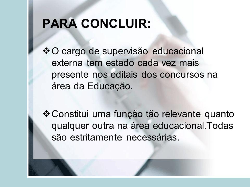 PARA CONCLUIR: O cargo de supervisão educacional externa tem estado cada vez mais presente nos editais dos concursos na área da Educação.
