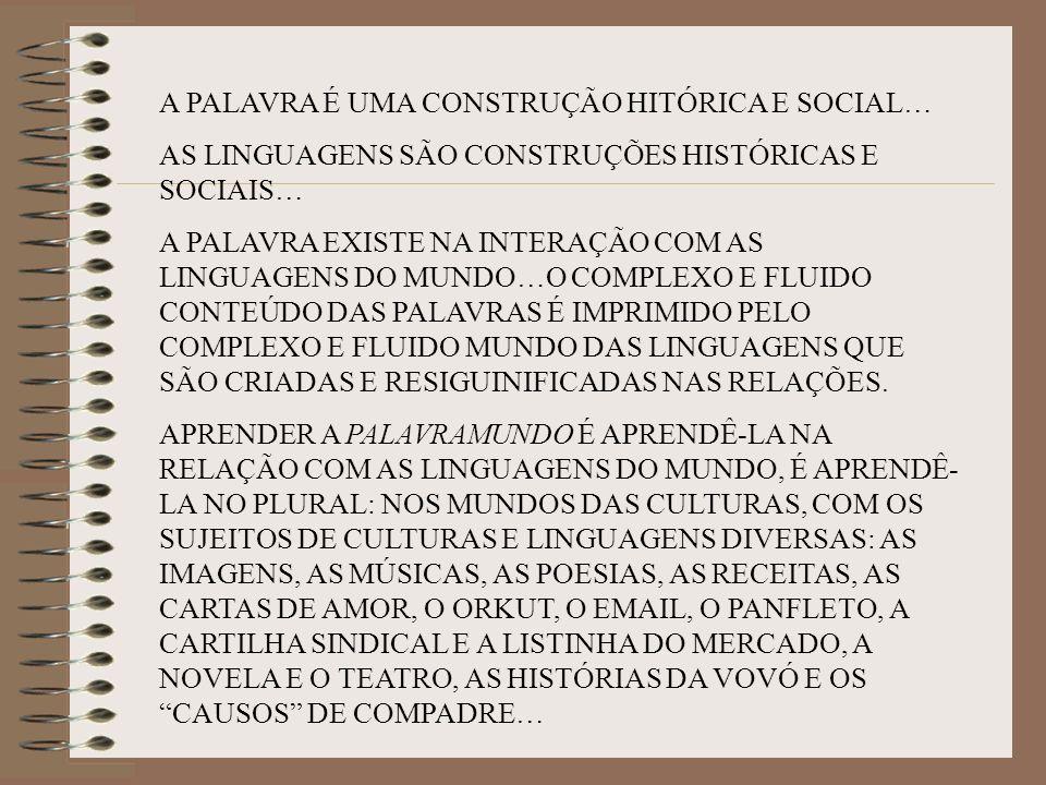A PALAVRA É UMA CONSTRUÇÃO HITÓRICA E SOCIAL…