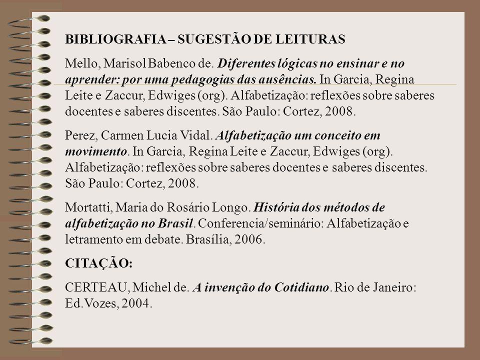 BIBLIOGRAFIA – SUGESTÃO DE LEITURAS