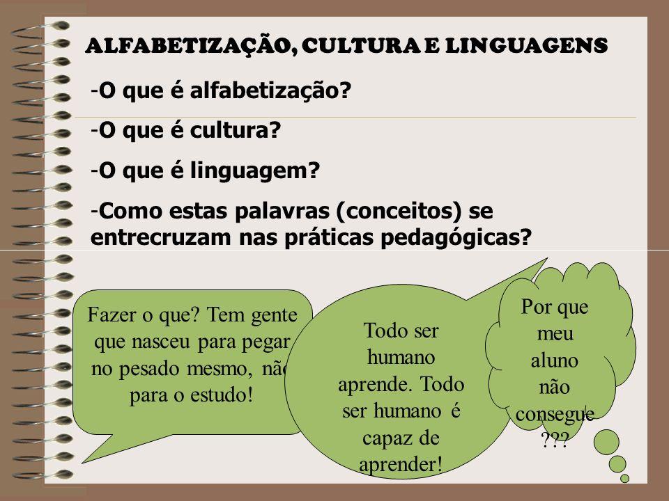 ALFABETIZAÇÃO, CULTURA E LINGUAGENS