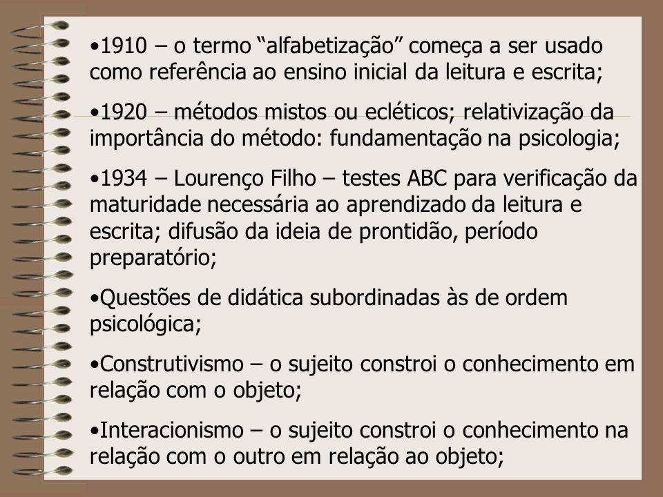 1910 – o termo alfabetização começa a ser usado como referência ao ensino inicial da leitura e escrita;
