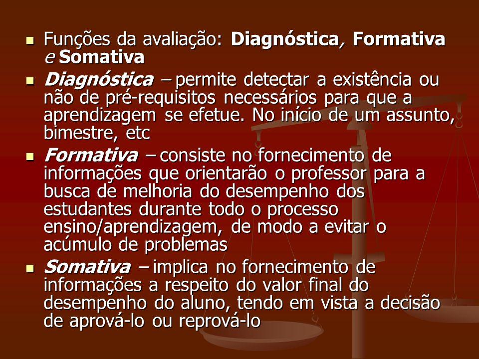 Funções da avaliação: Diagnóstica, Formativa e Somativa