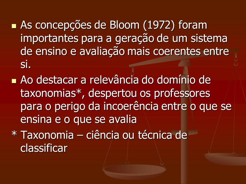 As concepções de Bloom (1972) foram importantes para a geração de um sistema de ensino e avaliação mais coerentes entre si.