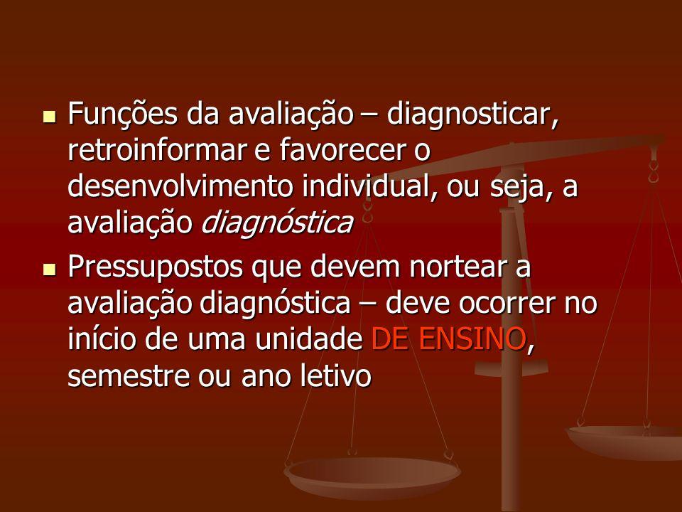 Funções da avaliação – diagnosticar, retroinformar e favorecer o desenvolvimento individual, ou seja, a avaliação diagnóstica