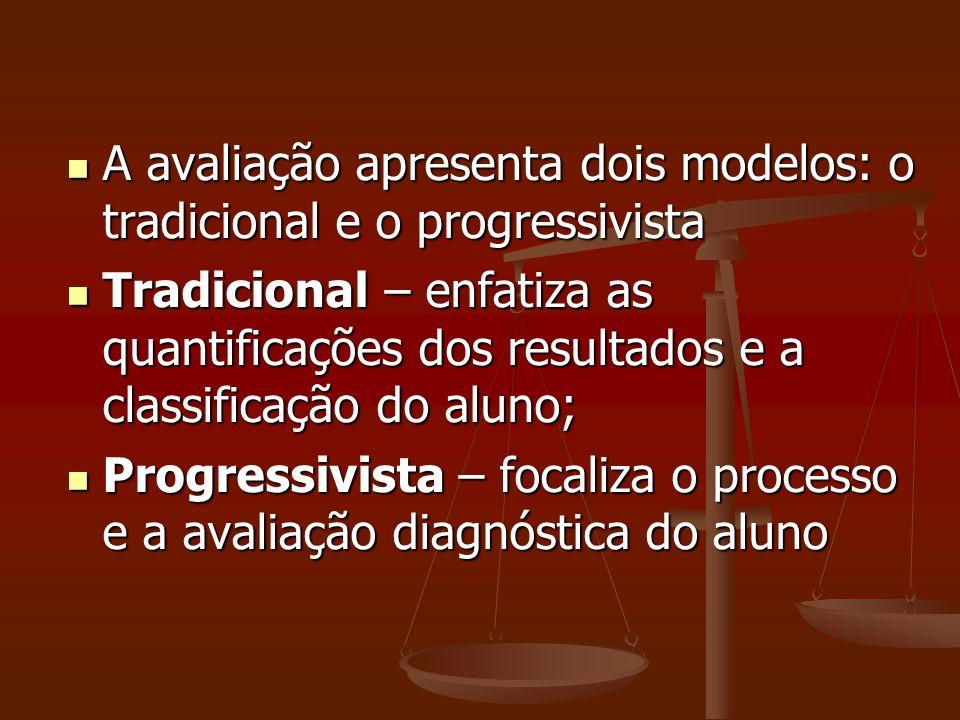 A avaliação apresenta dois modelos: o tradicional e o progressivista