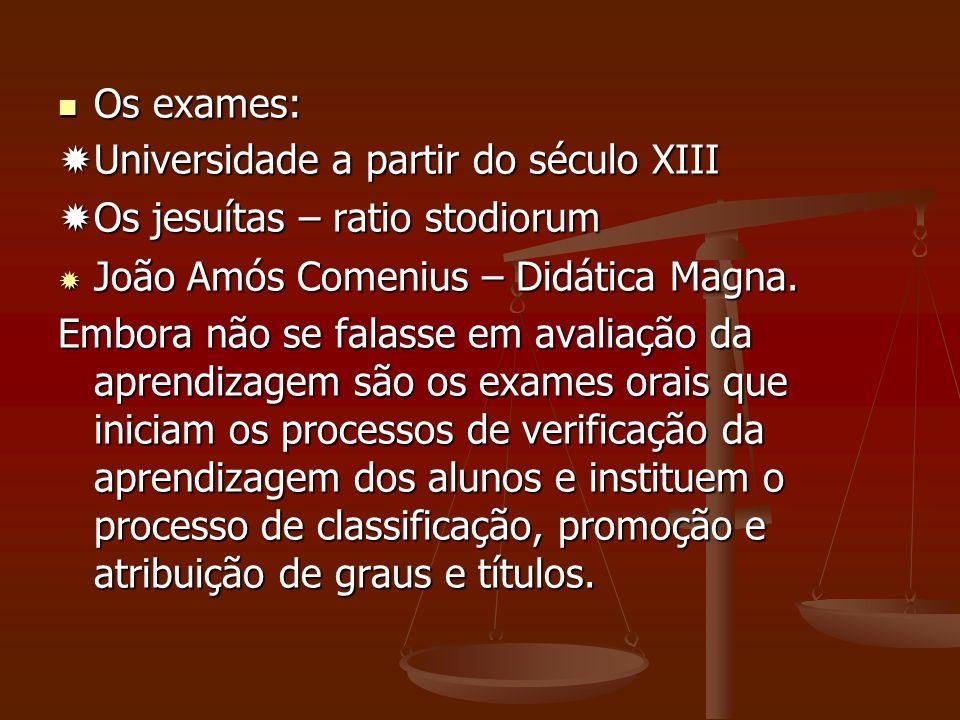 Os exames: Universidade a partir do século XIII. Os jesuítas – ratio stodiorum. João Amós Comenius – Didática Magna.