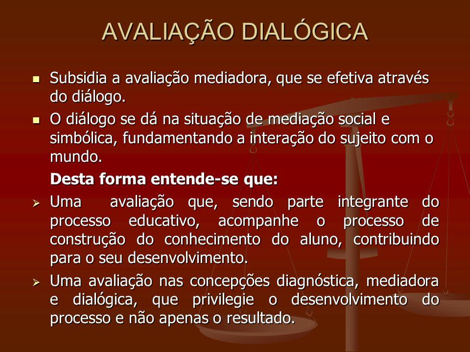 AVALIAÇÃO DIALÓGICA Subsidia a avaliação mediadora, que se efetiva através do diálogo.