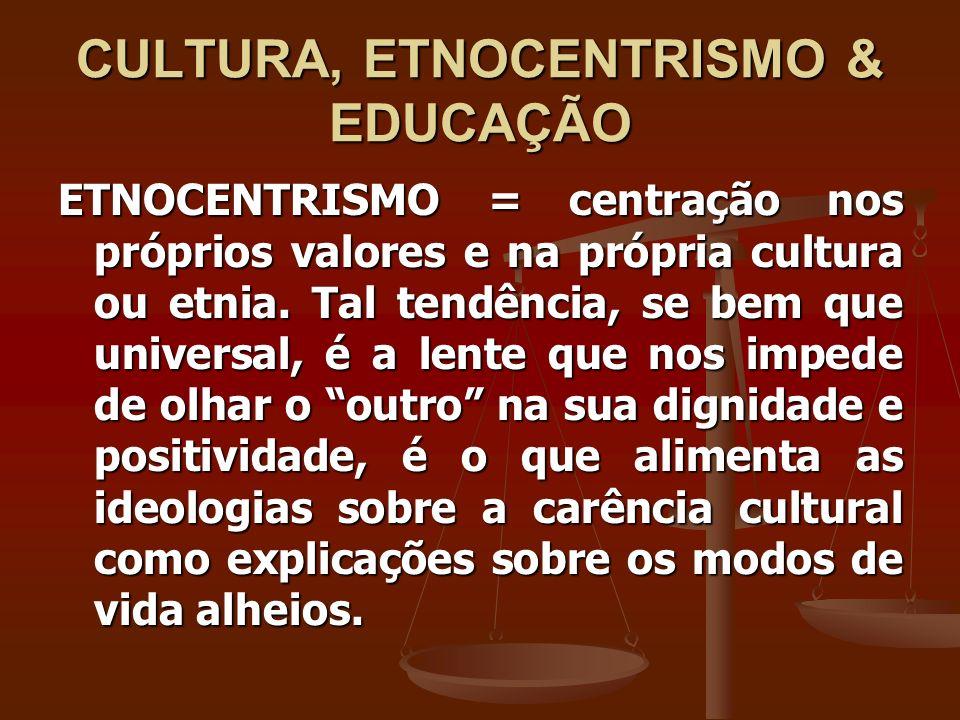 CULTURA, ETNOCENTRISMO & EDUCAÇÃO