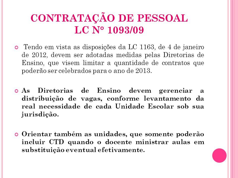 CONTRATAÇÃO DE PESSOAL LC N° 1093/09