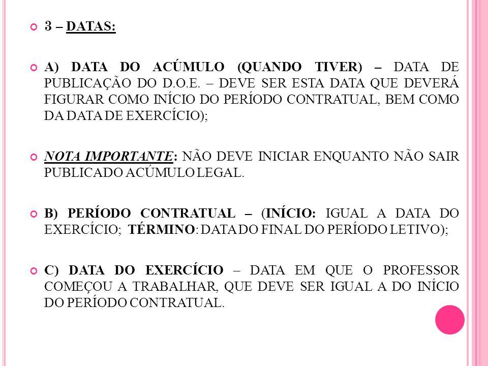 3 – DATAS: