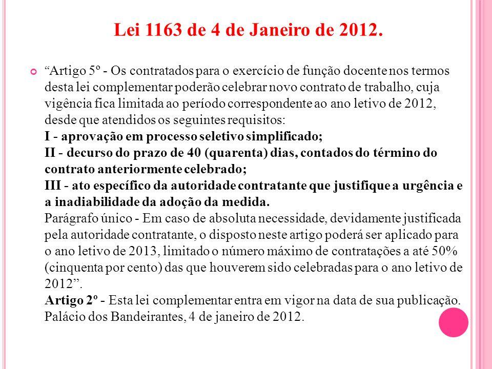 Lei 1163 de 4 de Janeiro de 2012.