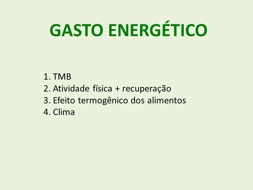 GASTO ENERGÉTICO TMB Atividade física + recuperação