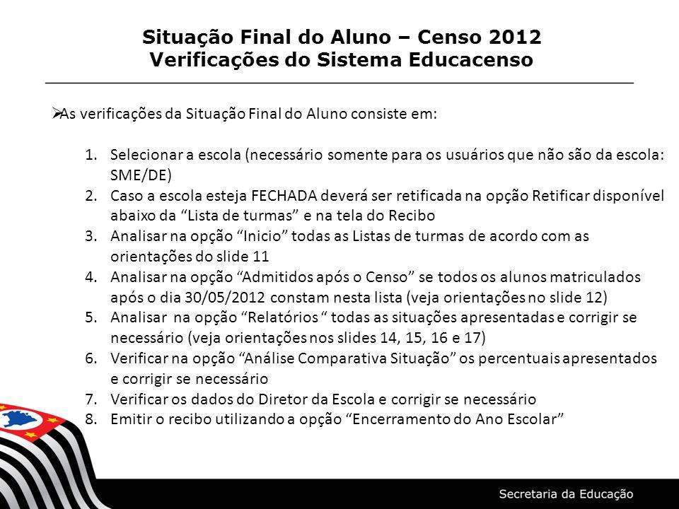 Situação Final do Aluno – Censo 2012 Verificações do Sistema Educacenso