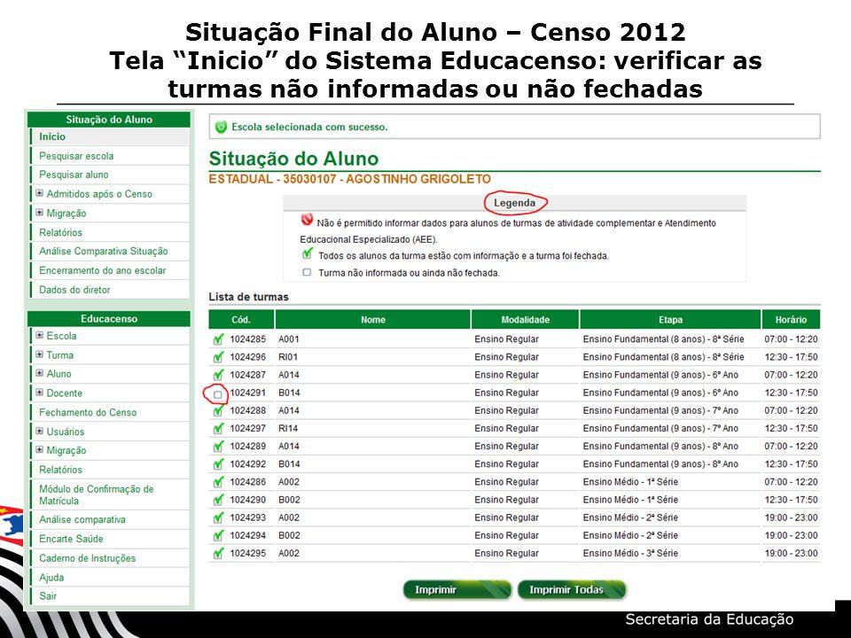 Situação Final do Aluno – Censo 2012