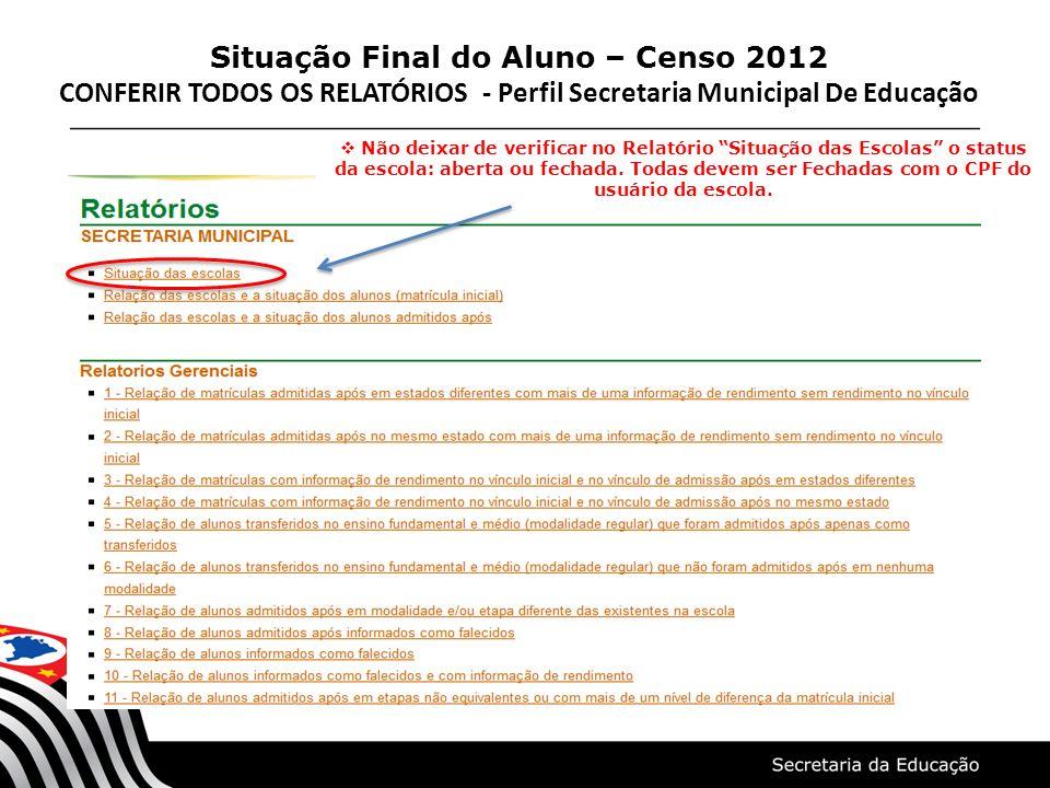 Situação Final do Aluno – Censo 2012 CONFERIR TODOS OS RELATÓRIOS - Perfil Secretaria Municipal De Educação