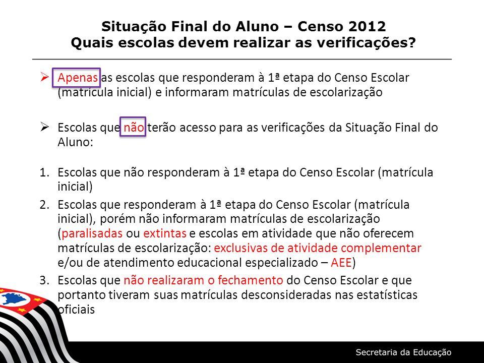 Situação Final do Aluno – Censo 2012 Quais escolas devem realizar as verificações