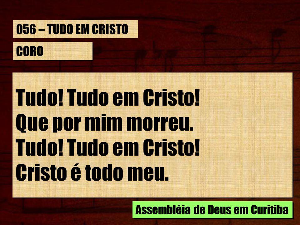 Tudo! Tudo em Cristo! Que por mim morreu. Cristo é todo meu.