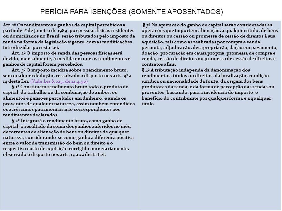 PERÍCIA PARA ISENÇÕES (SOMENTE APOSENTADOS)