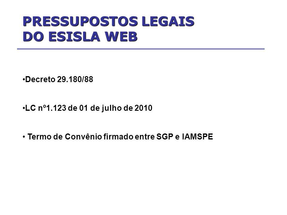 PRESSUPOSTOS LEGAIS DO ESISLA WEB Decreto 29.180/88