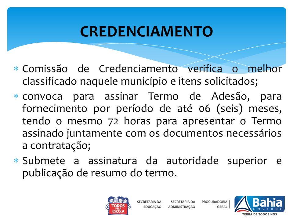 CREDENCIAMENTO Comissão de Credenciamento verifica o melhor classificado naquele município e itens solicitados;