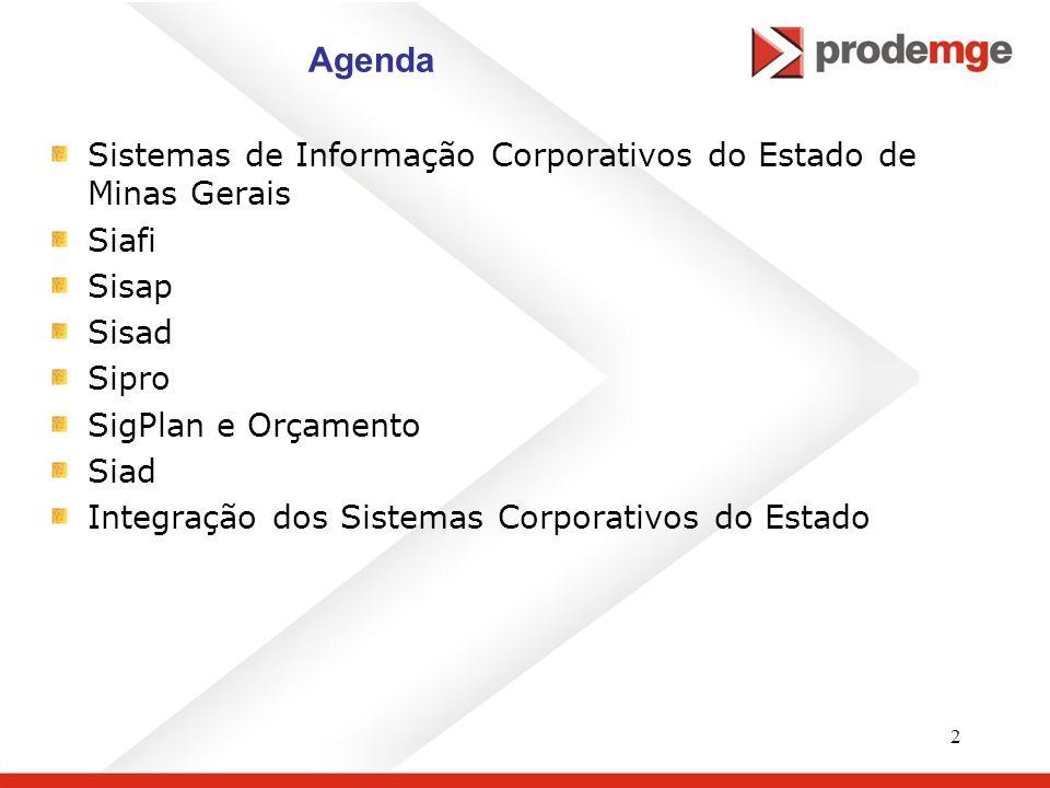 Agenda Sistemas de Informação Corporativos do Estado de Minas Gerais
