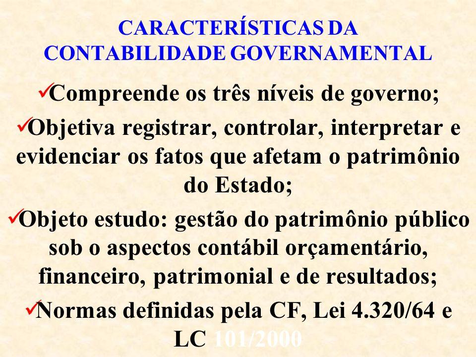 CARACTERÍSTICAS DA CONTABILIDADE GOVERNAMENTAL