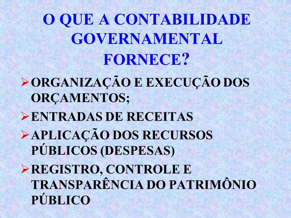 O QUE A CONTABILIDADE GOVERNAMENTAL FORNECE