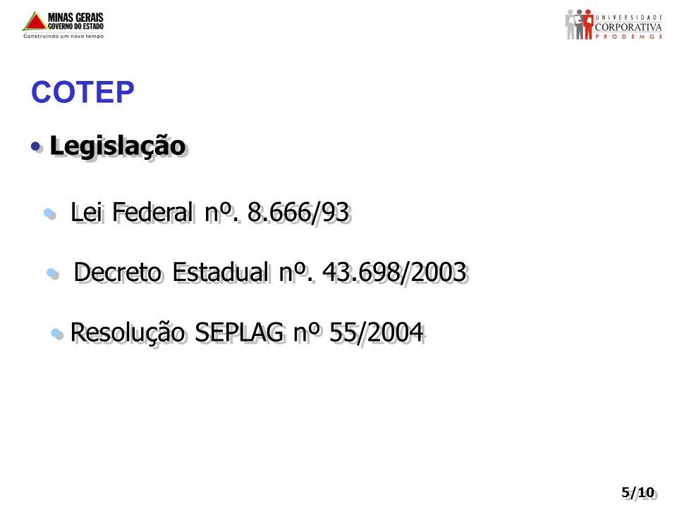COTEP Legislação Lei Federal nº. 8.666/93