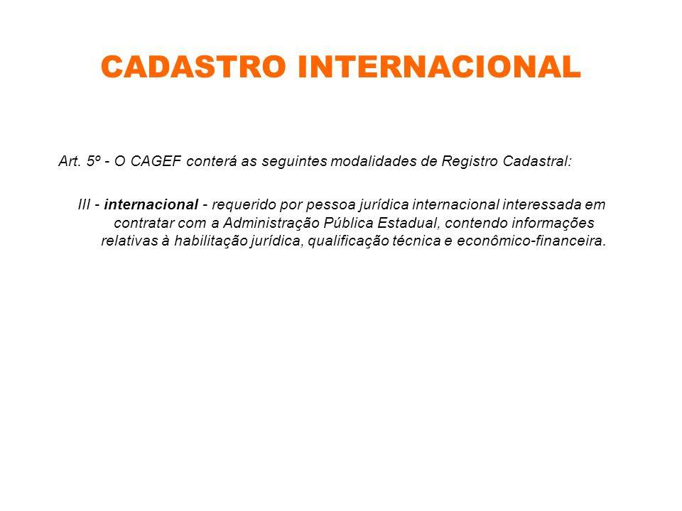 CADASTRO INTERNACIONAL