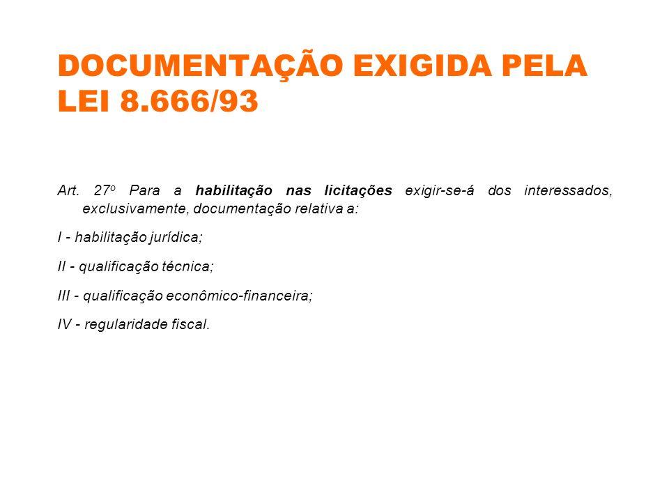 DOCUMENTAÇÃO EXIGIDA PELA LEI 8.666/93