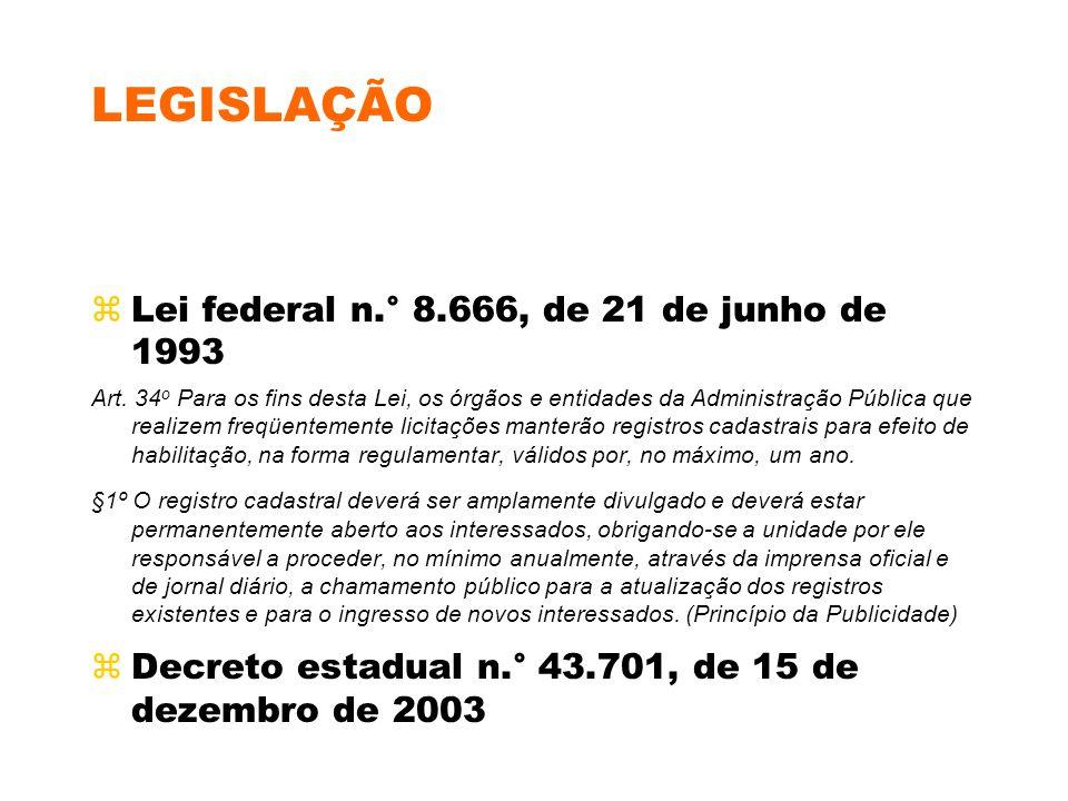 LEGISLAÇÃO Lei federal n.° 8.666, de 21 de junho de 1993