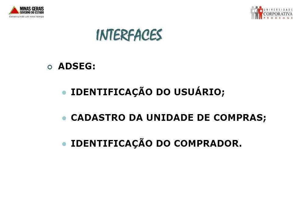 INTERFACES ADSEG: IDENTIFICAÇÃO DO USUÁRIO;