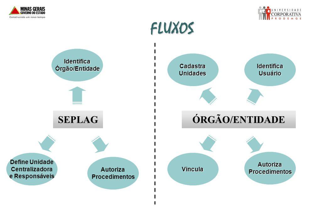 FLUXOS SEPLAG ÓRGÃO/ENTIDADE Identifica Órgão/Entidade Cadastra