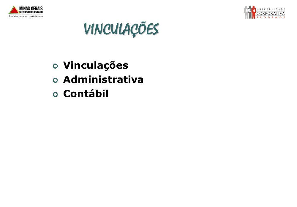 VINCULAÇÕES Vinculações Administrativa Contábil