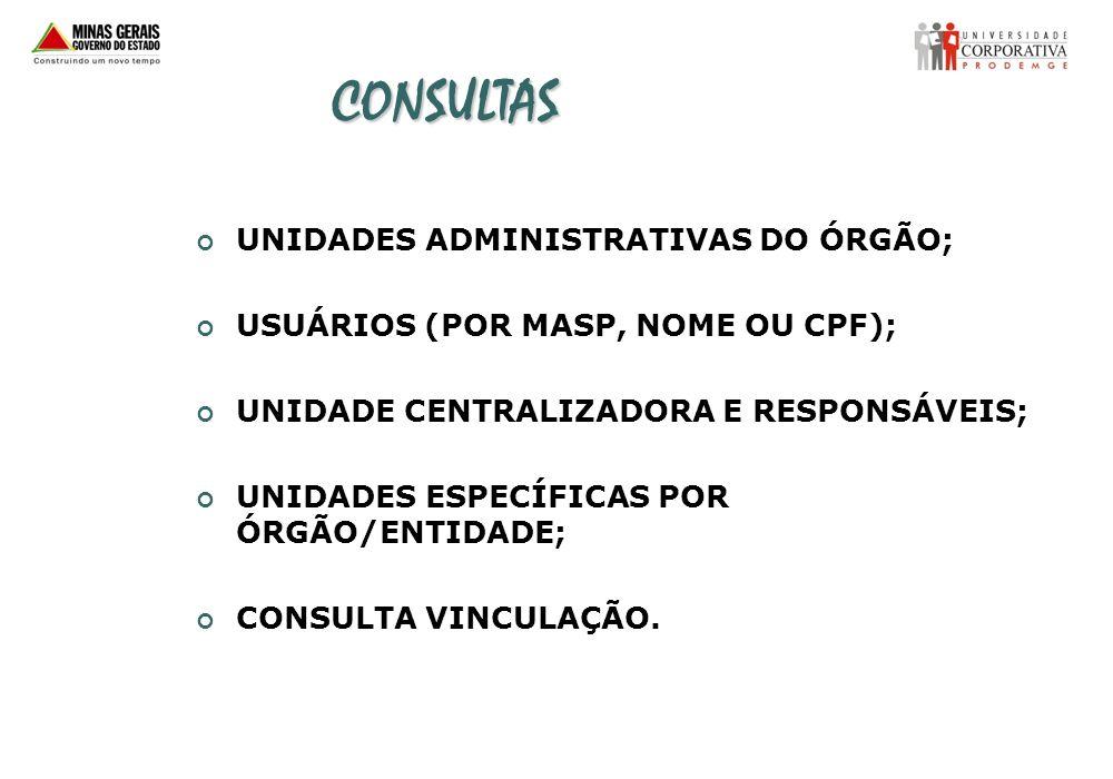 CONSULTAS UNIDADES ADMINISTRATIVAS DO ÓRGÃO;