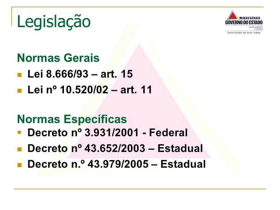 Legislação Normas Gerais Normas Específicas Lei 8.666/93 – art. 15