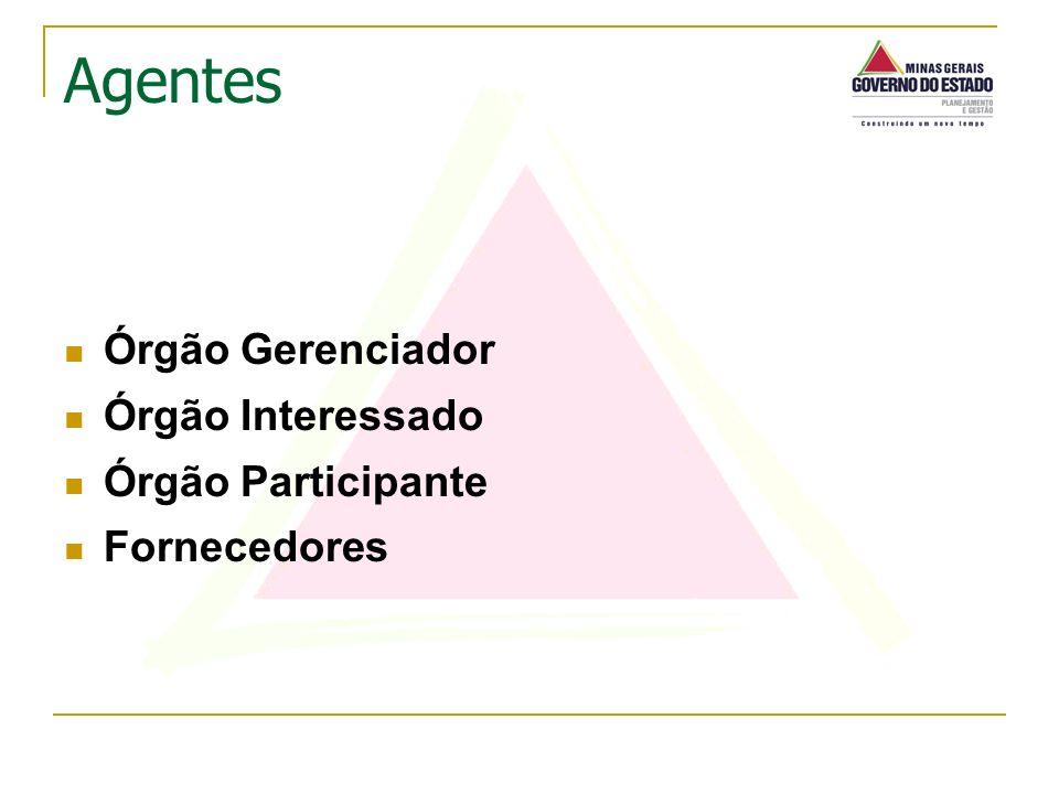 Agentes Órgão Gerenciador Órgão Interessado Órgão Participante