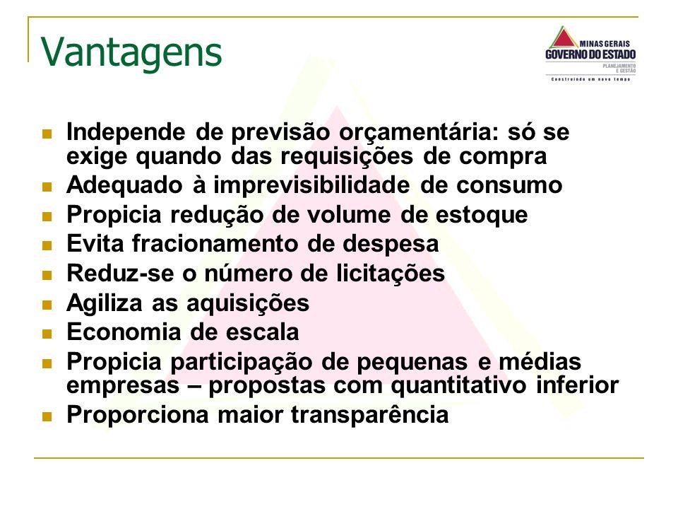 Vantagens Independe de previsão orçamentária: só se exige quando das requisições de compra. Adequado à imprevisibilidade de consumo.
