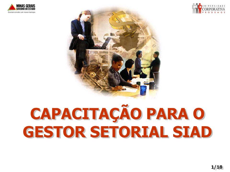 CAPACITAÇÃO PARA O GESTOR SETORIAL SIAD