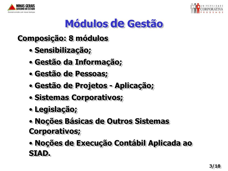 Módulos de Gestão Composição: 8 módulos Sensibilização;