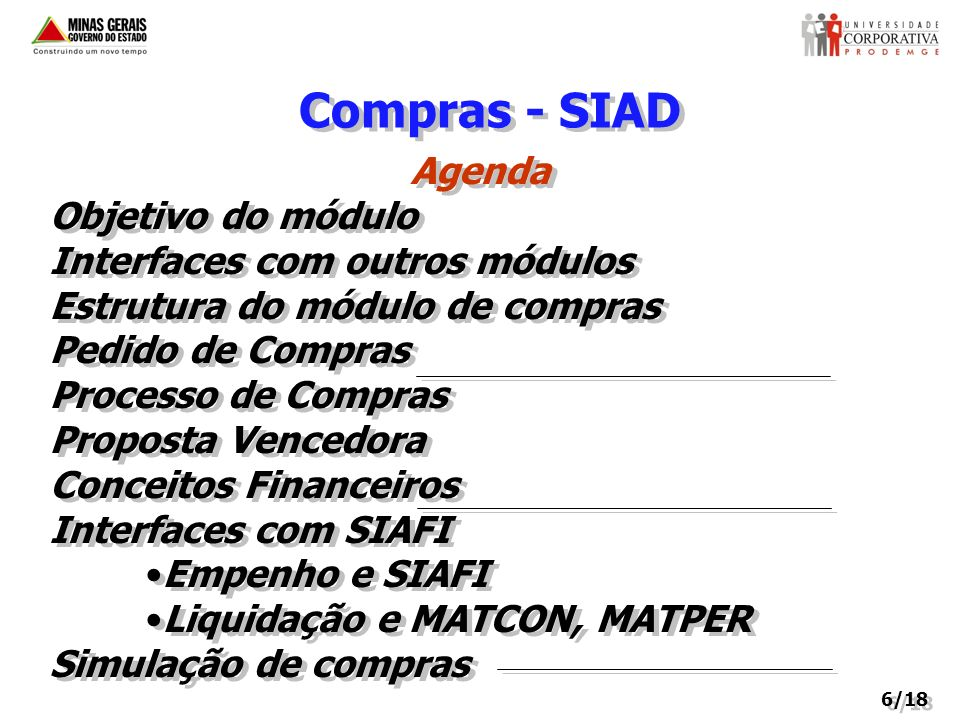 Compras - SIAD Agenda Objetivo do módulo Interfaces com outros módulos