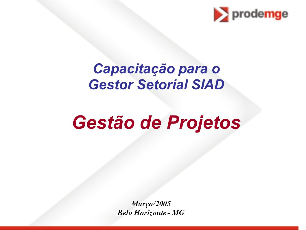 Capacitação para o Gestor Setorial SIAD Gestão de Projetos