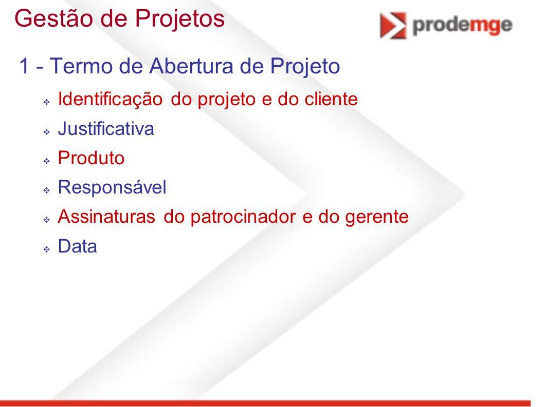 Gestão de Projetos 1 - Termo de Abertura de Projeto